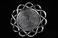 """(Цена за 10шт) Медальон металлический """"Roundel"""", размер 3,2 см, цвет серебрянный, подвески, металлическая подвеска"""