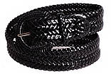 Черный пояс под джинсы плетеный 105 см., фото 4