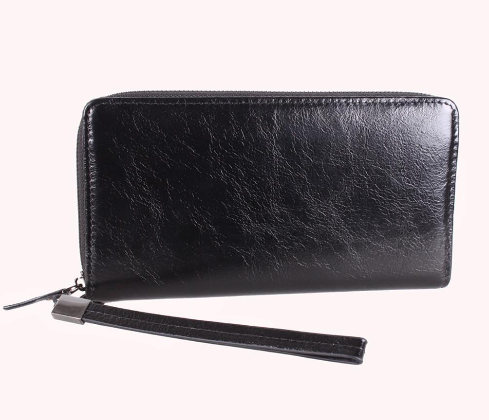Мужской портмоне на одну молнию BLACK001-1 Черный