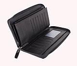 Мужской портмоне на одну молнию BLACK001-1 Черный, фото 4