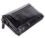 Стильный мужской клатч черного цвета BLACK005-2 Черный, фото 2