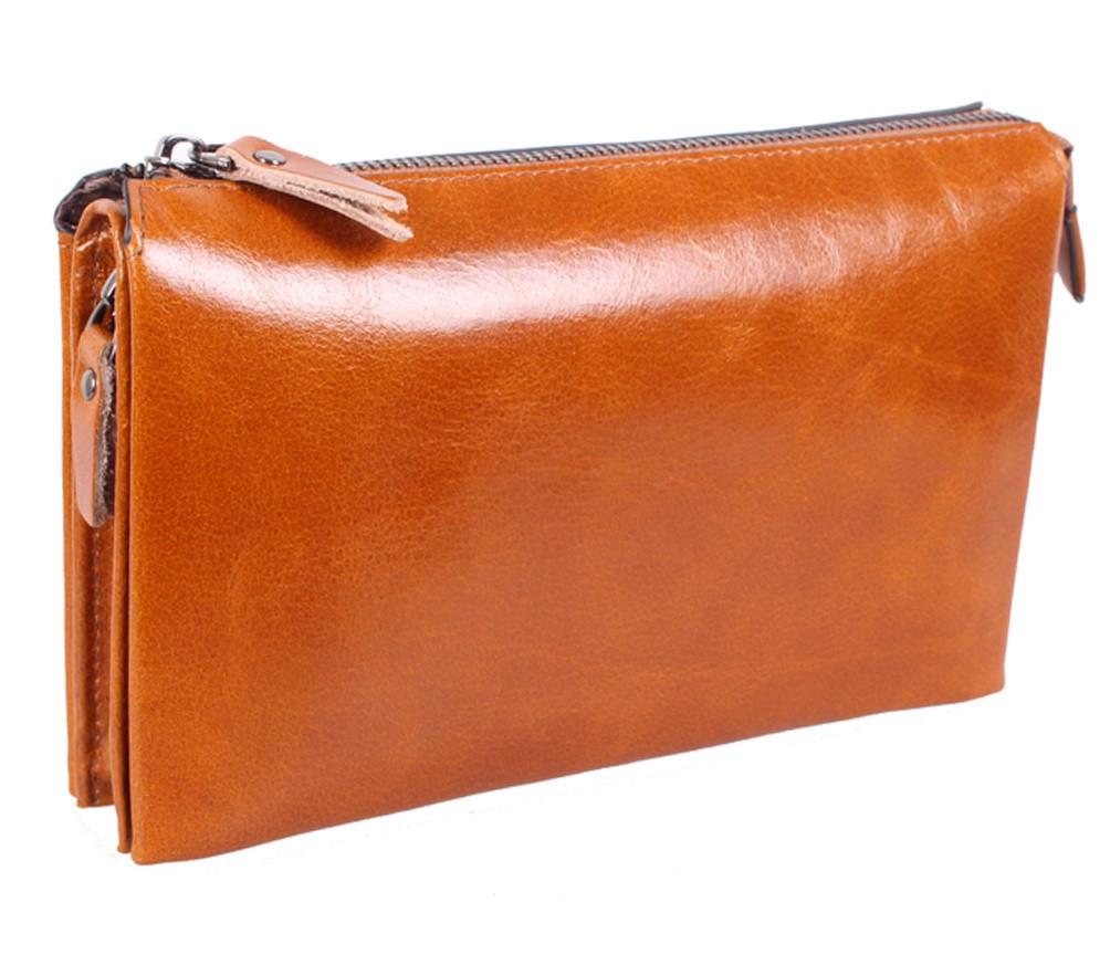 Необычный кожаный клатч для мужчин WHEAT005-5 Рыжий