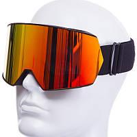 Лыжная маска черная SPOSUNE HX010 (золотые линзы)