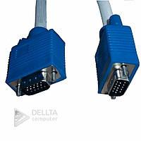 Кабель для подключения мониторов VGA 3 плюс 4 M / M, 5м, с двумя ферритовыми кольцами, белый, Кабель, провод HDMI
