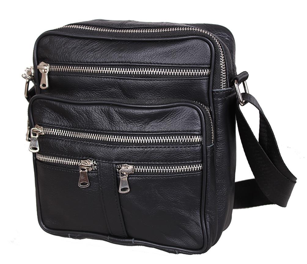 Мужская кожаная сумка Dovhani 60-29BLACK Черная