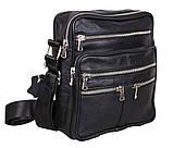 Мужская кожаная сумка Dovhani 60-29BLACK Черная, фото 2