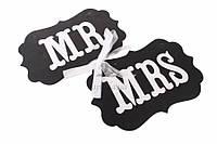 """Декоративные таблички """"MR&MRS"""" для фотосессии, 2шт, черные, картон, полипропилен, 25х0.5х16см, Интерьерные таблички, Таблички для свадебного декора"""