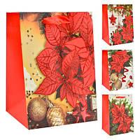 """(Цена за 12шт) Пакет подарочный бумажный Stenson """"Новогодний"""" размер 23х18х10 см, с ручками, с принтом, Бумажные пакеты"""