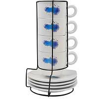 """Чашки с блюдцами на подставке """"Lemon"""" в наборе 9шт, объем 150мл, размер 24х8см, керамика, столовая посуда, оригинальные чашки и кружки"""