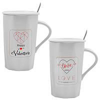 """Набор подарочный из чашек Stenson """"Love"""" в комплекте 2шт, объем 400мл, керамика, набор кружек, набор чашек с ложкой, чашка, кружка"""