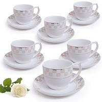 Сервиз кофейный HH18001, в наборе 12пр (6 чашек 200мл, 6 блюдец 12см), фарфор, в подарочной коробке, набор чашек, фарфоровый сервиз