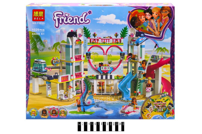 Конструктор Bela 11035 Friends Френдс Курорт Хартлейк Сити аналог(Lego Friends 41347) 1029 деталей