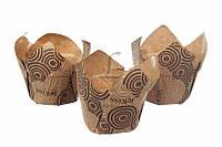 """(Цена за 100шт) Бумажная форма для выпечки """"Тюльпан"""", высота 6,5 см, диаметр 7 см, диаметр низ 5,5 см, формочки, формы для кексов"""
