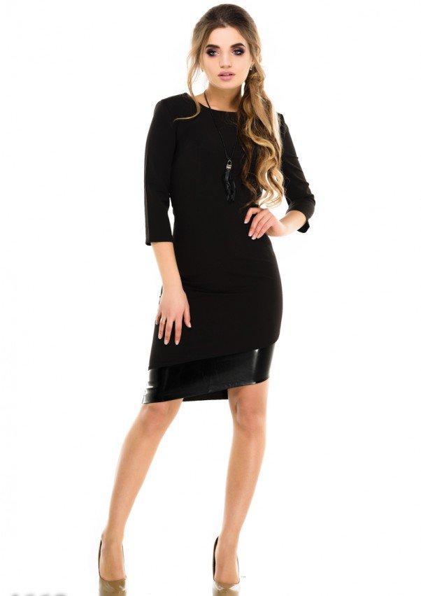 Асимметричное черное платье с кожаной полосой на подоле   M. L