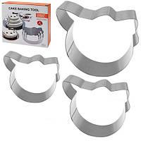 "Кольца для торта Stenson ""Kitty"" в наборе 3шт, размер 21х21х5см, металл, формы для выпечки, металлическая форма"