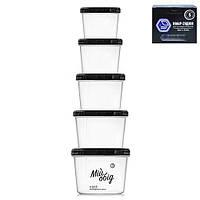 Набор контейнеров пищевых Stenson NP-97, с резьбой, 5пр/наб, объем 0.2/0.3/0.5/0.7/1.0 л, пластик, контейнер для продуктов, пластиковый контейнер,