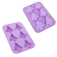 Форма для выпечки кексов Елка силиконовая, на листе 6шт, размер 25,5х17х3см, фиолетовая, силиконовые формы для выпечки