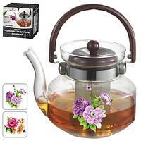 """Чайник - заварник Stenson """"Цветы"""" объем 1л, сито, боросиликатное стекло, чайничек, заварники, чайники, чайники и заварники"""
