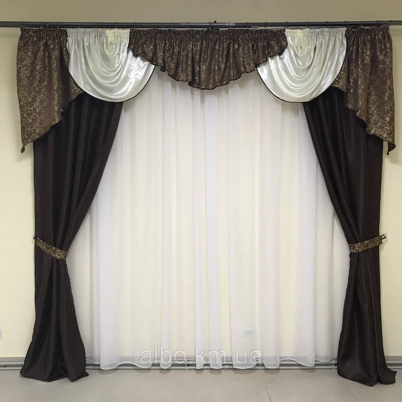 Шторы для зала спальни комнаты с ламбрекеном, жаккардовые шторы ламбрекены в зал кухню спальню гостинную,