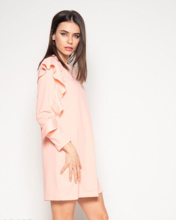 Персиковое платье с длинными рукавами с рюшами XL