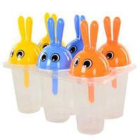 """Формы для мороженого Stenson """"Заяц"""" в наборе 6шт, пластик, 13см, набор для мороженного, кондитерский инвентарь, кондитерский инструмент"""
