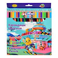 """Карандаши разноцветные """"TeacherD"""" в упаковке 24 цветов, карандаши для рисования, олівець, рисование"""
