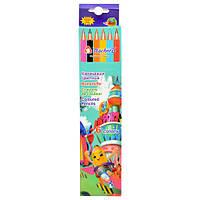 """Карандаши разноцветные """"TeacherD"""" 6 цветов, дерево, карандаши для рисования, олівець, карандаши для рисования"""