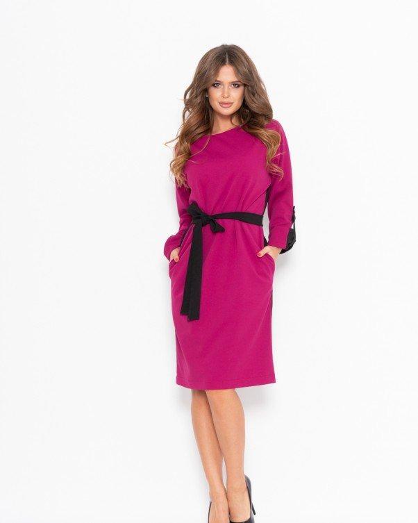 Черно-фиолетовое платье до колен прямого кроя с рукавами реглан S