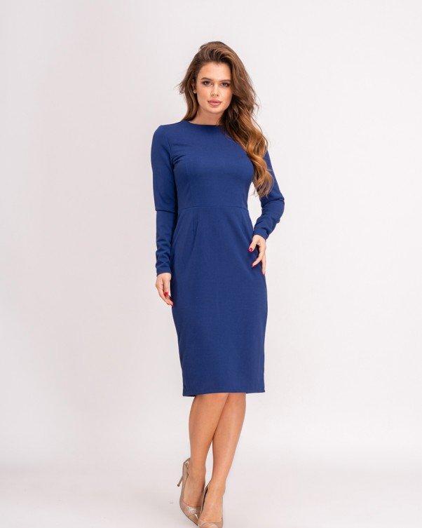 Синее классическое платье-футляр