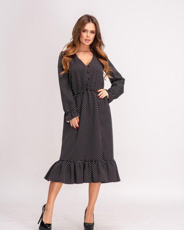 Черное в горошек платье декорированное воланами