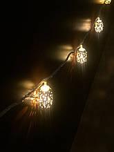 Гирлянда золотистые шарики металлические 20 лампочек 4 м