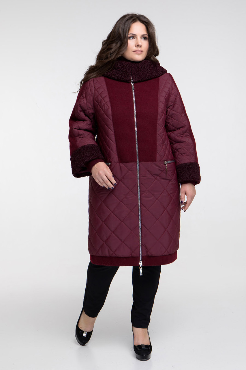Пальто женское осень-зима теплое длинное с каракулем размеры большие от 58 до 68