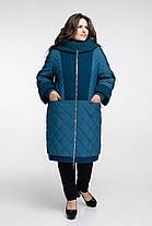 Пальто женское осень-зима теплое длинное с каракулем размеры большие от 58 до 68, фото 2