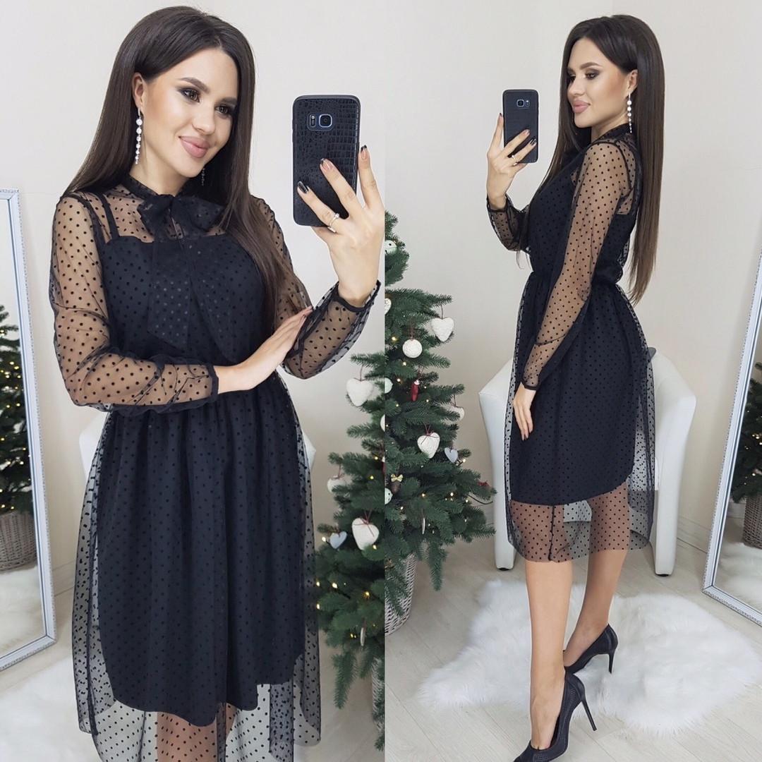 Платье женское нарядное, повседневное, масло и сетка в горох с длинным рукавом, черное, до 48 р