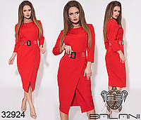 Деловое женское платье с юбкой на запах и поясом в комплекте с 42 по 46 размер