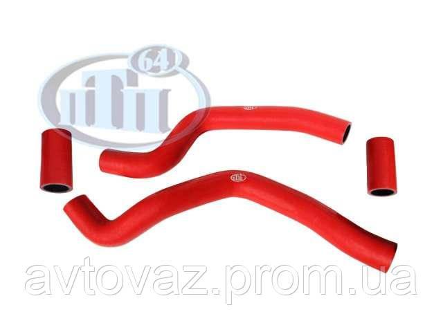 Патрубок радиатора ВАЗ 2110. 2111 (к-т 4 шт.), силикон, армирован., красный