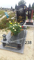 Памятник цветник комплекс из серого гранита позолота
