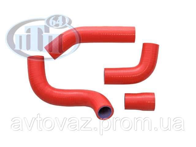 Патрубок радиатора ВАЗ 21073 инж. (к-т 4 шт.), силикон, армирован., красный
