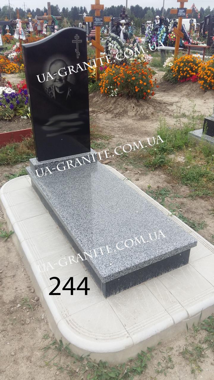 Пам'ятник закритий квітник із сірого граніту
