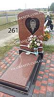 Комплекс памятник из красного гранита закрыт цветник