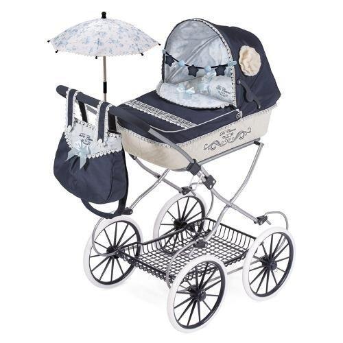 Коляска для кукол Романтик DeCuevas 81020 , классика, сумка, корзина, зонтик 68-42-81 см