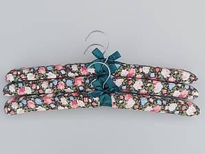 """Длина 38 см. Плечики тканевые  мягкие  """"цветы"""", 3 штуки  в упаковке"""
