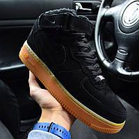 """Зимние мужские кроссовки Nike Air Force 1 High """"Black Gum"""" черные с мехом. Реальное фото. Реплика"""
