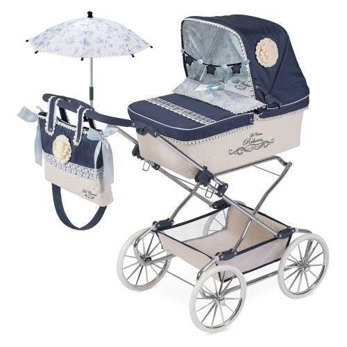 Коляска для кукол Романтик DeCuevas 82020, классика, сумка, корзина, зонтик 90-40-90 см