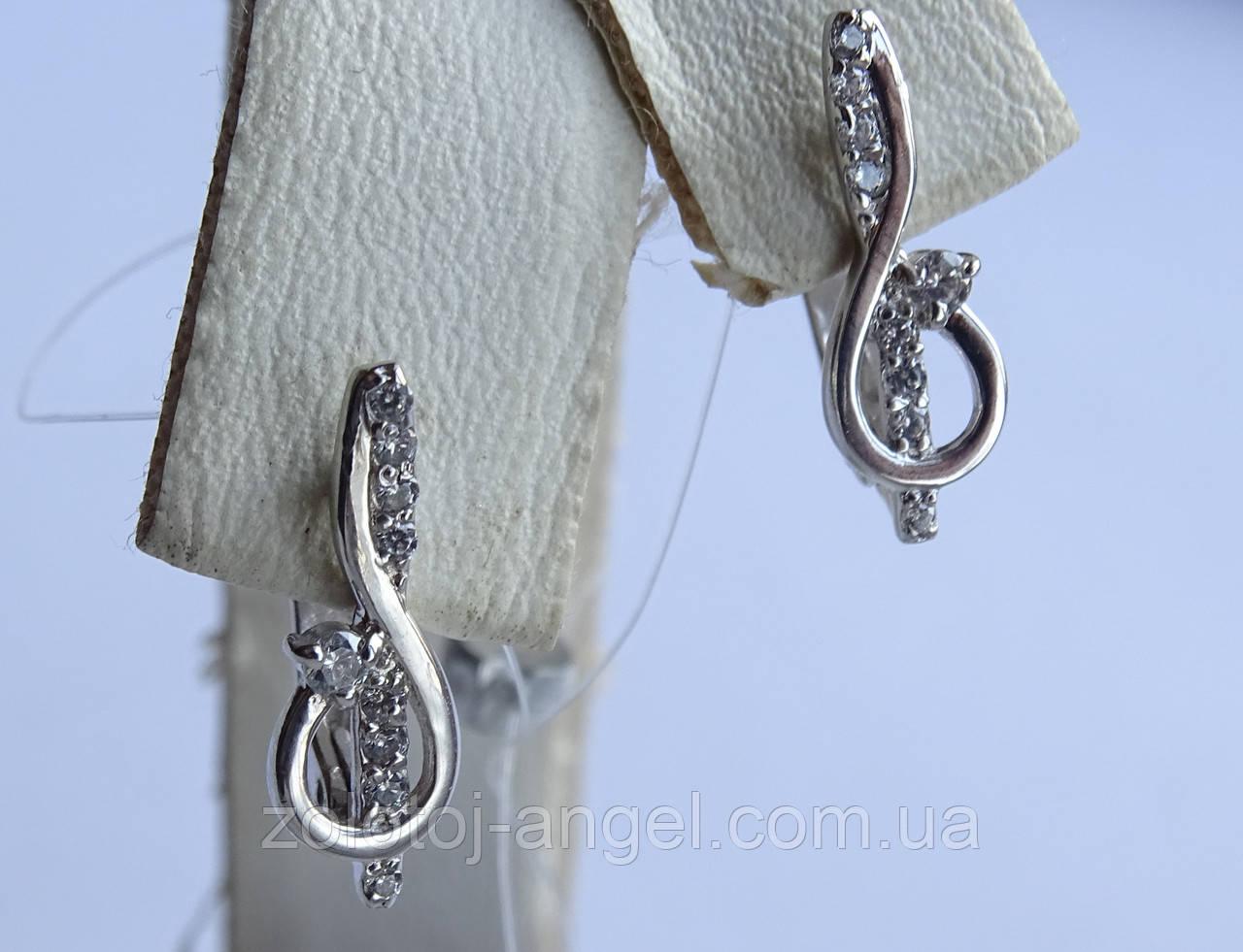 Серьги серебряные Скрипичный ключик