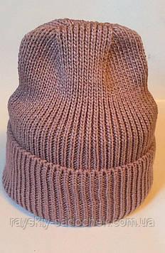 Жіноча шапка молодіжна з відворотом на флісі.