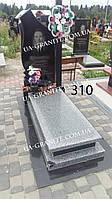 Памятники с закрытым цветником на могилу из серого гранита