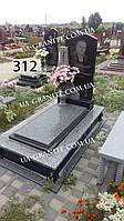 Памятники на могилу із закритим квітником із сірого граніту