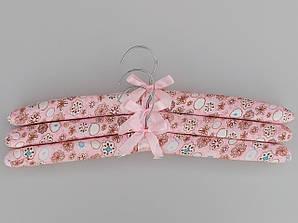 """Длина 38 см Плечики тканевые  мягкие  """"цветы"""", 3 штуки  в упаковке"""