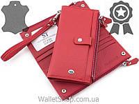 Яркий кожаный женский кошелек с ремешком на руку ST Leather